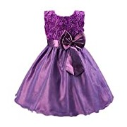 Flower Girl Dress: Girls Frock With Bow and Flowers For: First Communion, Confirmation, Christening, Baptism and Holidays: Age 2-3 Years (Purple)