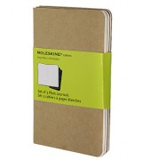 Moleskine Set de 3 cahiers pages blanches Format de poche Couverture souple 9 x 14 cm Couleur kraft