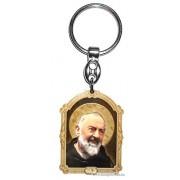 Aranyozott képes faplakett kulcstartó Szent Pio Atya