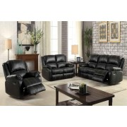 2 pc zuriel collection black faux leather upholstered sofa and love seat set with recliner ends