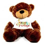 Brown 5 feet Big Teddy Bear wearing a First Happy Birthday T-shirt