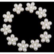 Phenovo Crystal Rhinestone Pearl Flower Buttons DIY Wedding Bouquet 10pcs