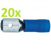 20 Buc X Conector Papuc Tata Izolat Plat 6.4 mm Albastru