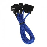 Cablu adaptor BitFenix Alchemy 4-pini Molex la 3x 3-pini 7V, 20cm, blue/black, BFA-MSC-M33F7VBK-RP