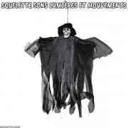 Squelette à suspendre avec sons lumières et mouvements Noir