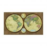 Harta exploratorilor - cele 4 emisfere National Geographic