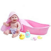 JC Toys La Newborn Realistic Baby Doll Bathtub Gift Set Featuring 13 All Vinyl Newborn Doll (8 Piece)