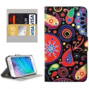 For Samsung Galaxy J1 Ace / J110 Colorful and Abstract Patterns Horizontal Flip Leather Case with Magnetic Snap & Card Slots & Holder & Wallet