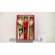 Set de 3 bougies japonaises peintes à la main (shochikubai)