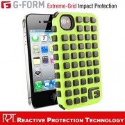 G-Form EXTREME-GRID Ruggedized Protective Case for Apple iPhone 4 & 4s [ Green Case-Black RPT ]