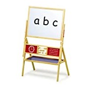 Children's blackboard and whiteboard in one, with clock