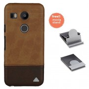 Stuffcool Vogue Dual Tone Leather Hard Back Case for LG Nexus 5X - Dark Brown