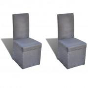 vidaXL Комплект трапезарни столове с покривало, 2 броя, цвят тъмно сив