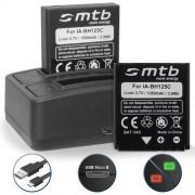 2 Batteries + Double Chargeur (USB) pour Ricoh Action Camera WG-M1 / Ricoh GR (2013), GR II (2015), GR Digital I, II, III, IV / Ricoh Caplio R3, R4, R5, R30, R40, GX100, GX200, G600, G700 / Ricoh BJ-6
