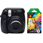 Film Instax Black Mini Fujifilm 8 Instant Camera + FREE RAINBOW FILM