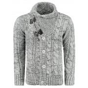 Pánský luxusní svetr vlněný 0720 s kapsami šedý - M