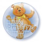 "Balon Double Bubble 24""/61cm Qualatex, Baby Boy Blocks & Bear, 68646"