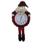 Relógio de Parede com Papai Noel Pelúcia de Luxo com 60cm de Altura CBRN0449 CD0082