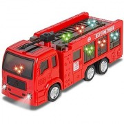 ToyZe Fire Truck Engine Toy for Kids with Lights and Real Sounds Bump and Go Action