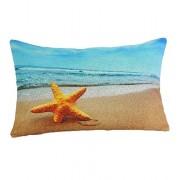 Especial Café Casa decorar moda largo funda de almohada Decor funda para cojín algodón lino rectangular 30 cm * 50 cm multicolor diseño de estrella de mar, multicolor
