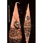 Koffie Kaars Piramide, 15 cm