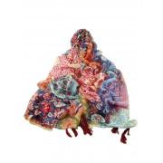 Zaful Écharpe multicolore bordée de glands avec impressions ethniques florales