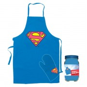 Superman schort en ovenwant in glazen pot