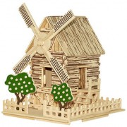 Magideal Children Brilliant Gift Toy 3D Wooden Puzzles DIY Assembled Windmill Cottage