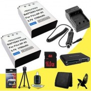 Two Halcyon 2100 mAH Lithium Ion Replacement Battery and Charger Kit + 16GB SDHC Class 10 Memory Card + Deluxe Starter Kit + Memory Card Wallet + Multi Card USB Reader for Fujifilm FinePix SL1000 Digital Camera and Fujifilm NP-85