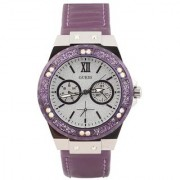 GUESS Purple Other Round Dial Analog Watch For Women (W0775L6)