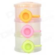 Portable Three-Layer PP Plastic Milk Powder Storage Box Kit - Translucent White