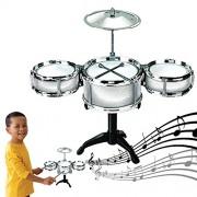 Dazzling Toys Silver Desktop Drum Set Musical Instrument Toy Playset Rock on Drums
