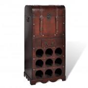 vidaXL Drevený stojan na víno pre 9 fliaš s kufrom skladovanie so zásuvkou