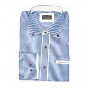 ThomasWaxx Koszula męska w kolorze niebieskim w biały prążek