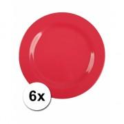 Barbecue borden rood van plastic 6 stuks 25 cm