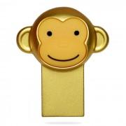 Metalico mono de la historieta estilo USB 2.0 Flash Drive - de oro (16 GB)