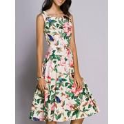 rosegal Midi Floral Print Skater Dress