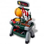vidaXL Детска работна маса с инструменти, цвят зелен + сив