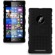 Quicksand Lumia 830 Cover, Defender 2 Rugged Armor Shock Proof Neo Hybrid Dual Layer Back Cover for Nokia Lumia 830 - Black
