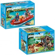 Maven Gifts Playmobil Wild Life Playset Bundle with Lynx Family & Cameraman and Inflatable Boat & Explorers Playset