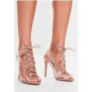 Missguided Nude Lace Up Clear Front Sandals, Beige