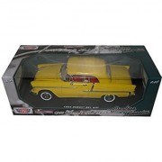 1955 Chevrolet Bel Air Convertible Soft Top Yellow Timeless Classics 1/18 by Motormax 73184 TC