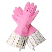 Washing Up Gloves - Gloveables Pink Lime Polka Dots