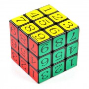 57mm 3x3x3 Arabic Numerals Magic Rubik's IQ Cube - Black + Multi-Color