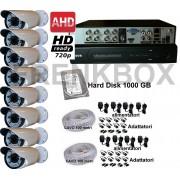Kit videosorveglianza DVR 8 canali AHD, telecamere 72LED varifocale 6-22mm + HDD