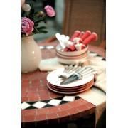 Table jardin ronde en mosaique (90 cm) - table fer forgé