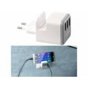 REVOLT Chargeur secteur USB 3,4 A avec 3 ports et support téléphone