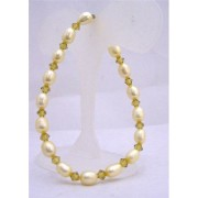 Yellow Lime Freshwater Rice Shaped Pearls Olivine Crystals Bracelet