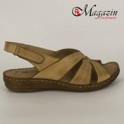 Sandale Dama din Piele Naturala Cappuccino - Talpa Antistres - Caspian Sea - 404