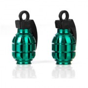 2pcs Bicycle Metal Grenade Shaped Bike Cycling Tyre Valve Dust Cap Cover - Green